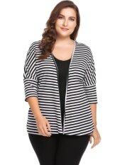 Cyber Sales Women Plus Size 3/4 Batwing Sleeve Striped Open Front Ribbed Cardigan( Black ) - Intl ราคา 491 บาท(-55%)