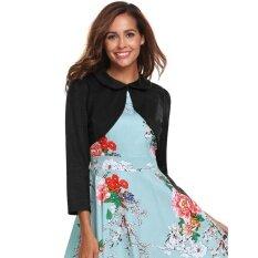 Cyber Top Sale Women Vintage Style Doll Collar Long Sleeve Solid Open Front Bolero Shrug Top( Black ) - Intl ราคา 400 บาท(-32%)