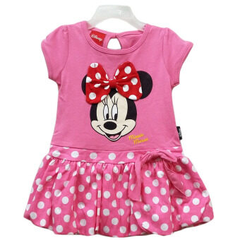 Disney MINNIE MOUSE เสื้อผ้าเด็ก เดรสมินนี่เม้าส์ผ้าคอตต้อนติดโบว์ A1273 (ชมพู)