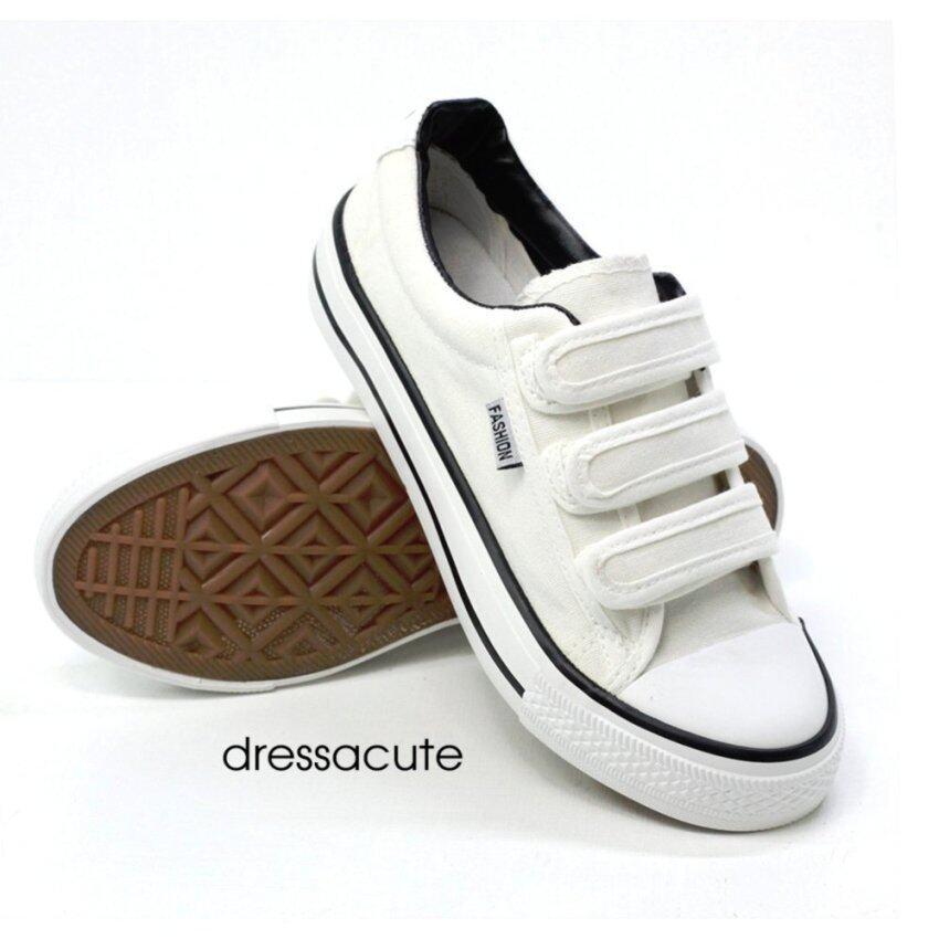 Dress A Cute รองเท้าผ้าใบแฟชั่นแบบติด ขอบนวม สีขาวขอบดำ (F19) รุ่น Magic Tape ...
