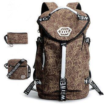 Fashion Leisure Large Capacity Backpack New Korean Men Student Back Pack Canvas Bag (Big Size / Coffee) - intl(...) ...