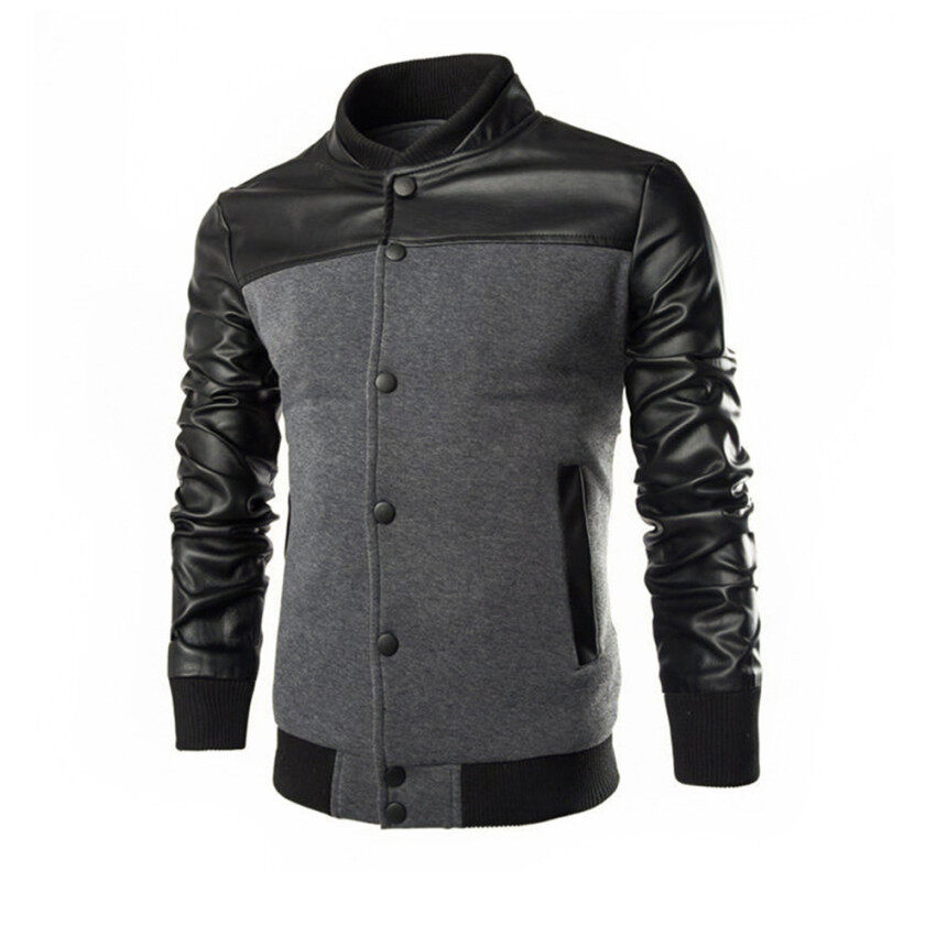 Fashion Slim Men Leather Jacket Casual Coat Tops Clothing - intl ...