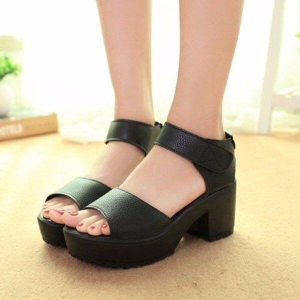 Fashion Women Summer Block Heel Creeper Sandals Ankle High Platform Shoes - intl ...