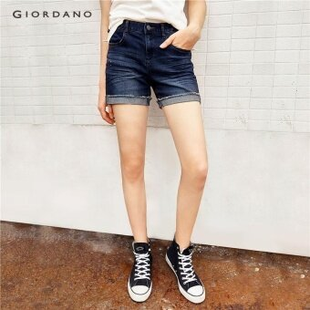 Giordano Women Casual denim shorts 05407208 DK Indigo - intl