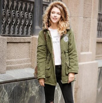 Girlhood berber fleece cotton-padded clothes-Army green - intl