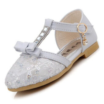 Girl's breathable mesh sandals summer diamond princess shoes (White) - Intl