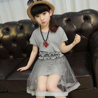 Girls Dresses Sets Yarn Skirt Belt Princess Dress with Free Gift Necklace - intl