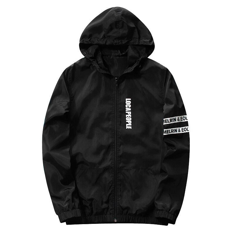 ราคาพิเศษ Grandwish อักษรการพิมพ์บางคนสวมเสื้อแจ๊กเก็ต Hoodies M-3XL (สีดำ) สำหรับคุณ