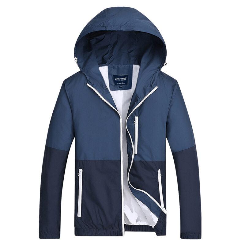 ราคาพิเศษ Grandwish คู่ไลท์เวทชายเสื้อนอกผ้าออกแบบแจ็คเก็ต Hoodies XS-3XL(น้ำเงิน) สำหรับคุณ