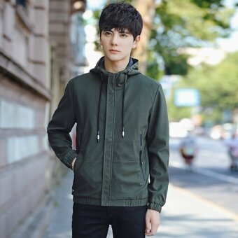 Grandwish Men Fashion Coat Baseball collar Bomber Jacket solid Coat Hoodies M-3XL (Army green) - intl