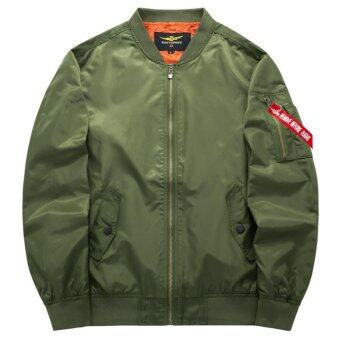 Grandwish Men Pilot Bomber Jacket Pure Color Coat Plus size S-6XL(Army green) - intl