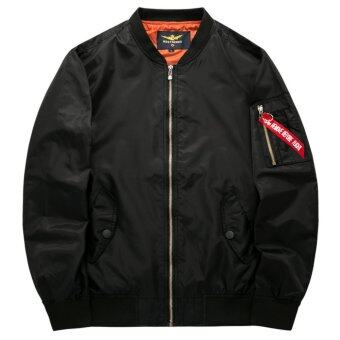 Grandwish Men Pilot Bomber Jacket Pure Color Coat Plus size S-6XL(Black) - intl