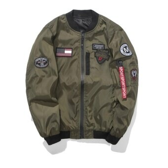 Grandwish Men Pilot Jackets American flag pattern Bomber JacketKorean version Coat M-4XL (Army green) - intl