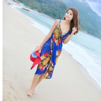 Hang-Qiao Bikini Strap Flower Beach Dress Shawl Scarf for Women(Blue) - intl