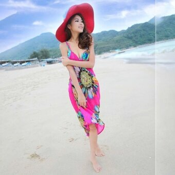 Hang-Qiao Bikini Strap Flower Beach Dress Shawl Scarf for Women(Hotpink) - intl