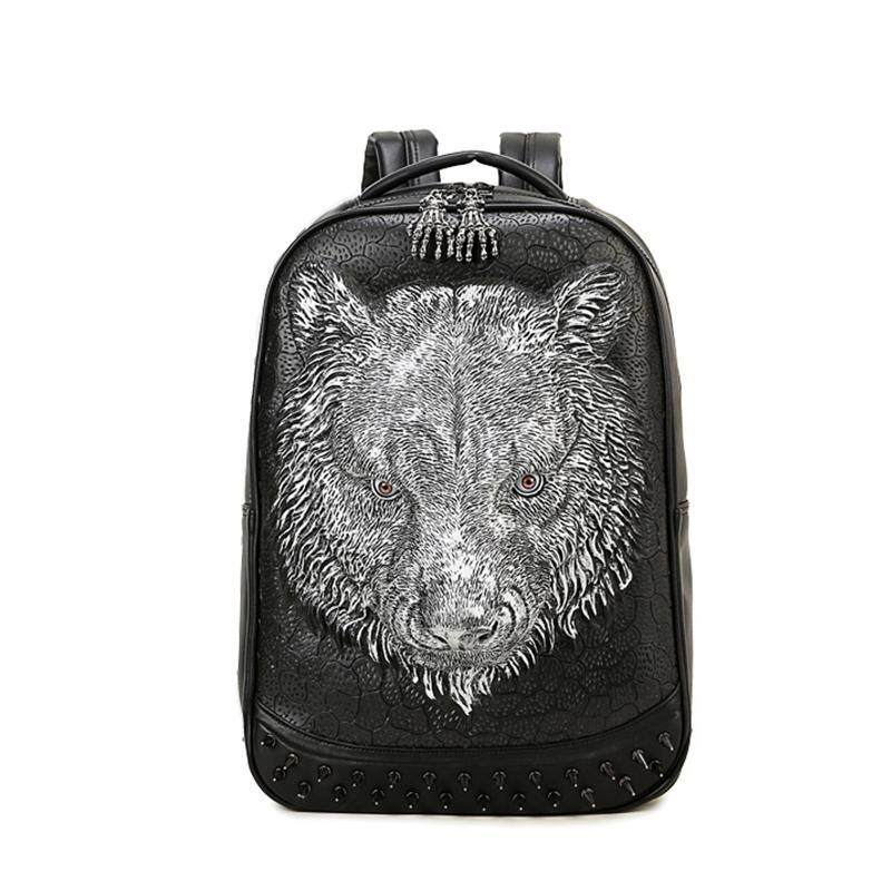 Hi tech 3D tiger head backpack shoulder backpack large capacity travel bag cool student loptop computer school bag - intl