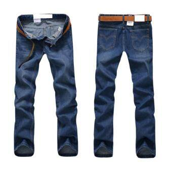 High quality business men jeans leisure pants modern full lengthlight washed denim pants mid waist jeans 27 (blue) - intl