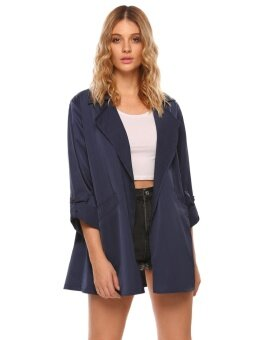 High Quality Sunweb New Women Casual Turn Down Collar Long Sleeve Solid Waterfall Trench Coats Cape Cardigans(Blue) - intl