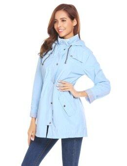High Quality Sunweb Women Casual Hooded Long Sleeve Zipper Lightweight Raincoat Waterproof Jacket(Blue) - intl