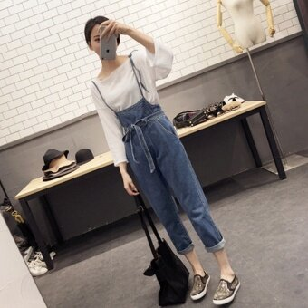 High waist straps slender straps pants all-match casual jeans female female students. - intl