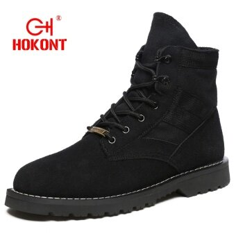 HOKONT Wolf Warriors Winter Boots men boots Hot Sell Plus cotton snow boots Warm Winter men shoes Black - intl
