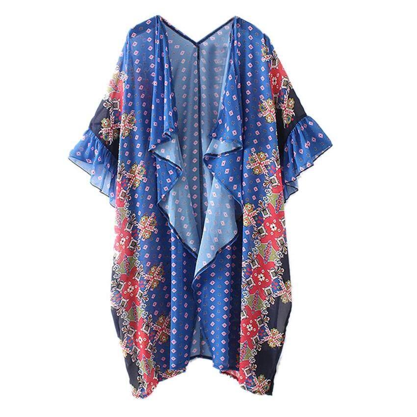 Hot Flower Print Women Cardigan Beach Floral Chiffon Long Kimono M Blusas - intl