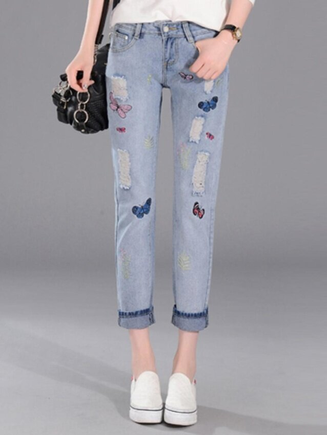 JollyChic Women's Denim Pants Appliques Distressed Washed Casual Hole Design Jeans - intl