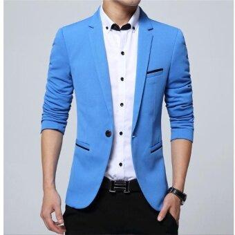 JOY Korean style slim suit coat Western men's clothing Blue - intl