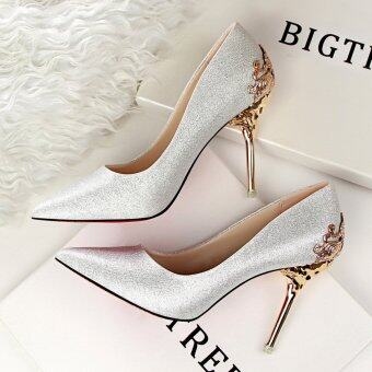 KOKO Fashion High-Heeled Shoes Woman Pumps Sexy Thin Heels High Heels Suede Pointed Toe Women Shoes Closed Toe Ladies Wedding Shoes (Silver)