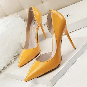 KOKO Hot Fashion Sexy Woman Pumps Thin Heels High-Heeled Shoes Pointed Toe Ladies Wedding Shoes Closed Toe Women Shoes High Heels (Yellow)