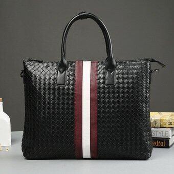 Korean Business Knitting Tote For Men Leisure Shopping Bag Weaving Handbag Package Crossbody Bag (Black) - intl(...)