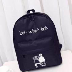 Kwang Fashion กระเป๋าเป้สะพายหลังแฟชั่น สกรีนลายคนคู่ รุ่น0027 (สีดำ)