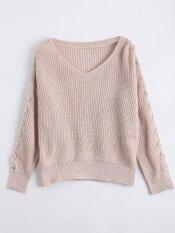 Lace Up Sleeve V Neck Sweater( Apricot) - Intl ราคา 629 บาท(-50%)