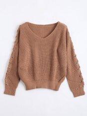 Lace Up Sleeve V Neck Sweater(coffee) - Intl ราคา 629 บาท(-50%)