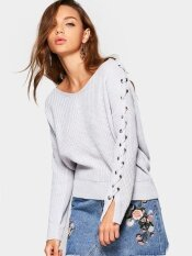 Lace Up Sleeve V Neck Sweater(white) - Intl ราคา 629 บาท(-50%)