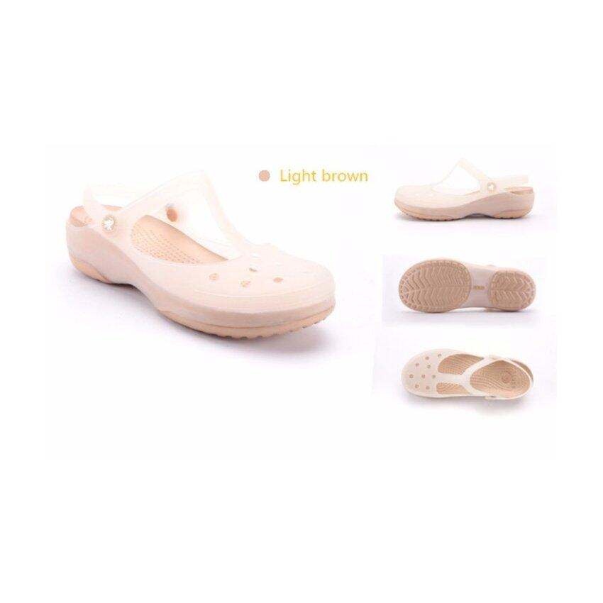 Ladies summer new jelly discoloration shoes, sandals, hole shoes, slippers, beach shoes (Mary Jane light brown) - intl ...
