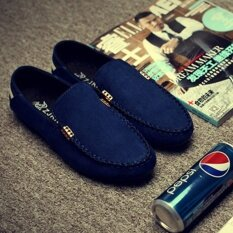 Lescopines English Mans Loafers Slip-On Leather Shoes Driving Moccasin Blue - Intl ราคา 430 บาท(-77%)