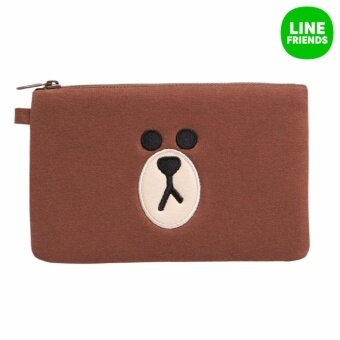 LINE FRIENDS SQUARED CHARACTER POUCH_BROWN(FACE) - intl