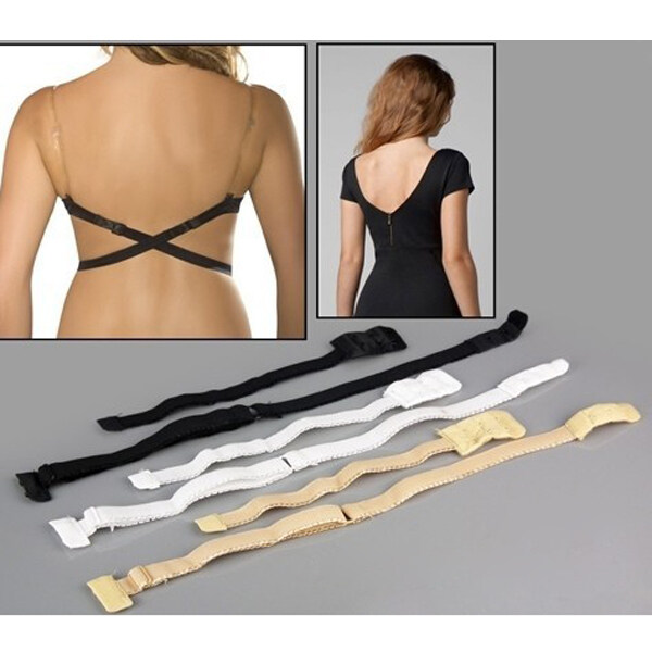 Low Back Bra halved Belt Extender Hook Adjustable Converter Strap Black ...