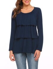 Low Profit Women Long Sleeve Layered Ruffles Solid Casual Loose Fit T-Shirt Top (navy Blue) - Intl ราคา 433 บาท(-58%)