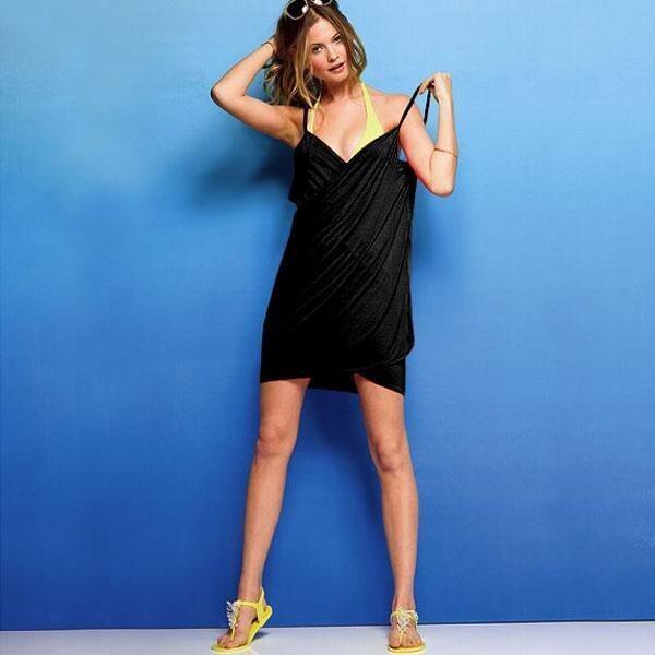 LT365 Women Soft Rayon Backless Strap Beach Wrap Skirt Beach Dress - Black - intl