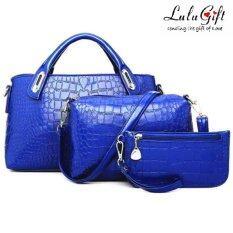 Lulugift Handbags กระเป๋าถือ Set of 3 - Blue สีน้ำเงิน