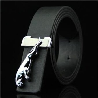 Luxury Men Genuine Leather Belt Business Black 3D Silver Leopard Automatic Metal Buckle Waistband Cow Leather - intl