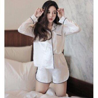 ชุดนอนผ้าซาติน แขนยาว ขาสั้น สีดำ สไตล์เกาหลี ไซต์ M-XL # 5687