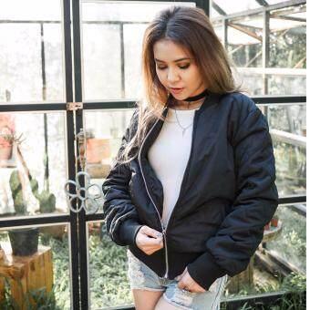 Maggigems เสื้อแจ็คเก็ตบอมเบอร์ ดีเทลสวย (สีดำ) รุ่น 2 ผ้าร่ม stylish Bomber Jacket (black) series 2
