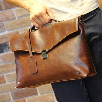 Male Briefcase Camel Handbag Business Tote Leather Crossbody Messenger Bag (Coffee) - intl(...)