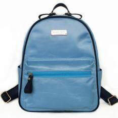Mango TSAR Fashion Nylon ไนลอน Backpack กระเป๋าเป้สะพายหลัง - Blue สีน้ำเงิน