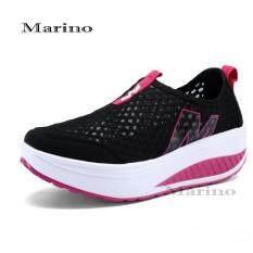 Marino รองเท้าผ้าใบสีดำ รองเท้าเพิ่มความสูงสำหรับผู้หญิง No.A010 - BlackPink