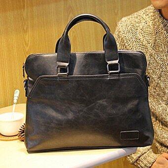 Men Casual Handbag Satchel Bag Computer Bag Business Tote Bag Crazy Horse Leather Portable Bag (Black)
