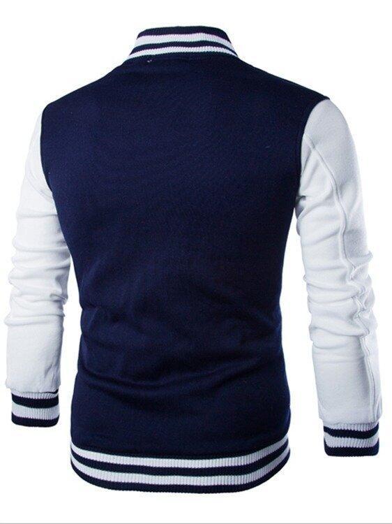 Men Casual Sweater Baseball Cardigan Jacket Navy ...